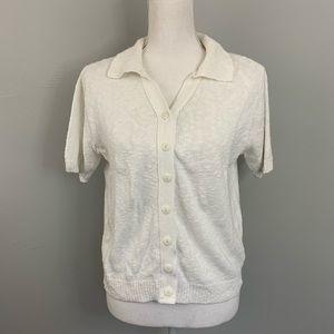Vintage cream knit short sleeve cardigan